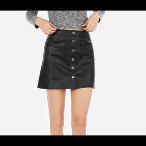 Express Black Faux Leather Snap Front Skirt Size 2